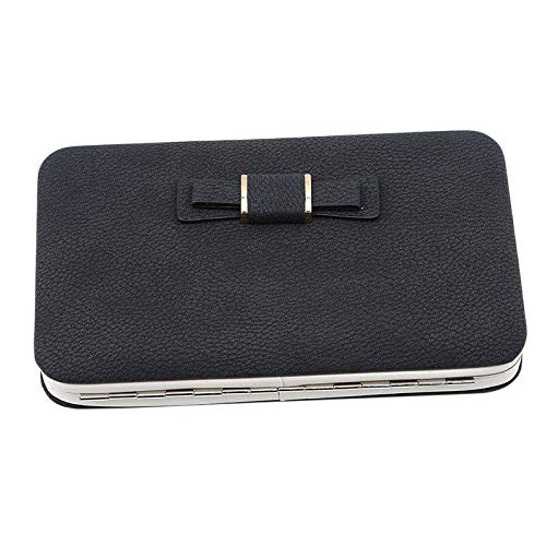 (Fashion New Girl Leather Clutch RFID Wallet Long Card Holder Purse Handbag QP (Color - Black))