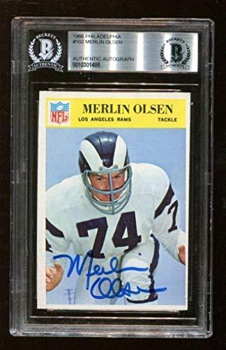 Merlin Olsen Signed 1966 Philadelphia #102 Autographed Rams Ex/MT Beckett BAS