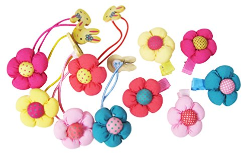 Ship From USA--HipGirl Boutique Girls Hair Flower Clips Set. (10pc 1.5