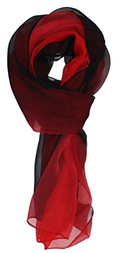 (Ted and Jack - Silk Ombre Lightweight Accent Scarf in Red and Black)