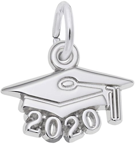 Graduation Cap w/ Year 2020 Charm (Choose Metal) by Rembrandt| Metal| Sterling Silver