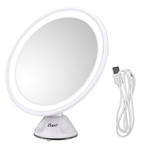 Lighted Makeup Mirror, Isuri Rechargeable LED 7X Magnifying Lighted Makeup Cosmetic Mirror with Powerful Locking Suction Cup, Bathroom Movable Vanity Mirrors USB - Legal Usb
