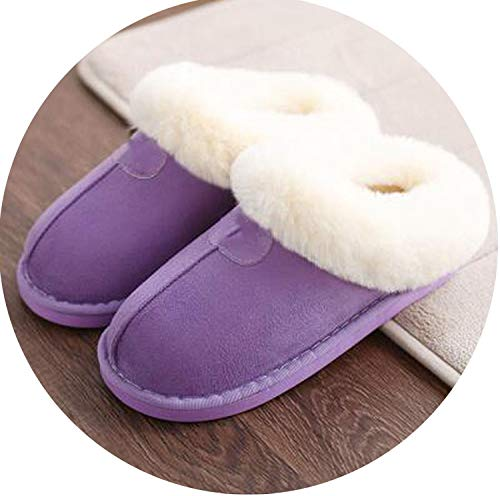 Winter 2018 Warm Soft Women's Fashion and Indoor Plush Slippers U Style Cotton,Lavender,6]()
