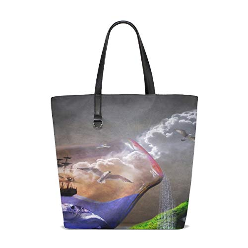 Price comparison product image NQEONR Women Environmental Protection Environment Nature Handle Satchel Handbags Shoulder Bag Tote Purse Messenger Bags