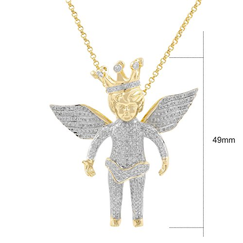 2.15ct Diamond Baby Flying Angel with Crown Charm Mens Hip Hop Pendant in Yellow Gold Over 925 Silver (I-J, I1-I2) by Isha Luxe-Hip Hop Bling (Image #1)