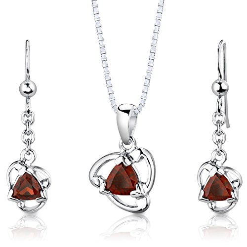 Garnet Pendant Earrings Necklace Sterling Silver Rhodium Nickel Finish Trillion Shape 2.00 Carats