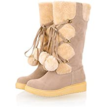 BalaMasa Womens Bandage Pom-Poms Round Toe Imitated Leather Boots