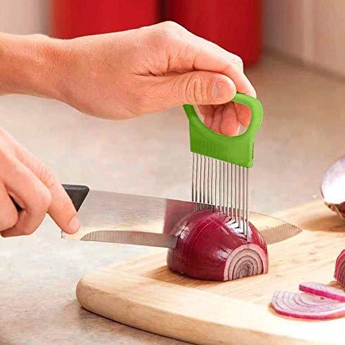 Slicer Food Assistant, Food Slicer Vegetable Tool Onion Holder Slicer and Chopper for Meat, Stainless Steel Vegetable Rack Slicers Meat Slicers Onion Peeler (2Pack, Green)