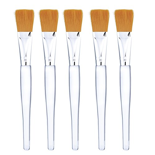 - Facial Mask Brush Makeup Brushes Cosmetic Tools with Clear Plastic Handle, 5 Pack (Gold with Yellow Brush)