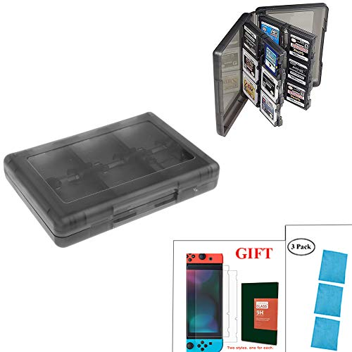 Game Card Storage Case for Nintendo New 2DS XL,New Nintendo 3DS,New 3DS XL,Ultra-Slim Transparent 24 in 1 with 2 Micro SD Card Holders-5x3.5x0.9 Inches&Tempered Glass Nintendo Switch Screen Protector from IOKSCTER