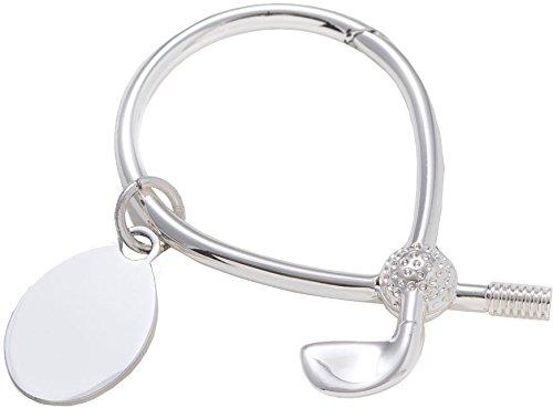Golf Key Ring w/Tag - Silver Plated, (Silver Golf Club Key Ring)