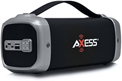 AXESS SPBT1074 Portable Indoor Outdoor Bluetooth Media Speaker with Built-In FM Radio Rechargeable Battery and Subwoofer Silver