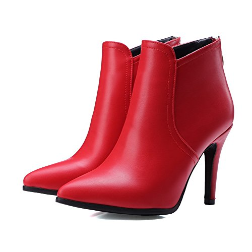 AllhqFashion Womens Zipper Pointed Closed Toe Spikes Stilettos Ankle High Boots, Red, 40