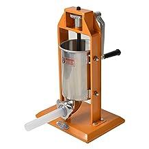 Hakka Sausage Stuffer 7 Lb/3 L Stainless Steel Vertical Meat Filler(color Orange) by HAKKA BROTHER