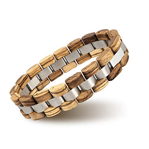 BOBO BIRD Mens Wooden Bracelet Stylish Wood & Stainless Steel Combined Wooden Bangle Jewelry Great Gift for Men