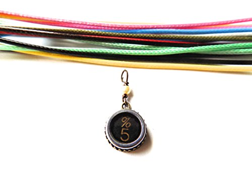 Authentic Vintage Repurposed Typewriter Key Necklace- Small Circular Shape With Glass Covering (1950s) (% 5)