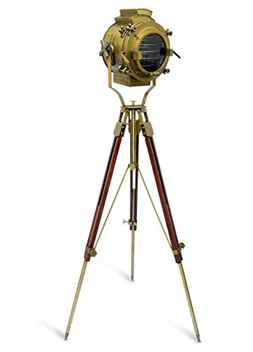 Nautical Antique Finish Brass Spotlight Searchlight Wooden Tripod Floor Lighting Stand Vintage Home Decor