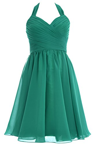 Dress Halter Short Women Bridesmaid Wedding Party MACloth Green Chiffon Cocktail Gown x4qX6w7x5
