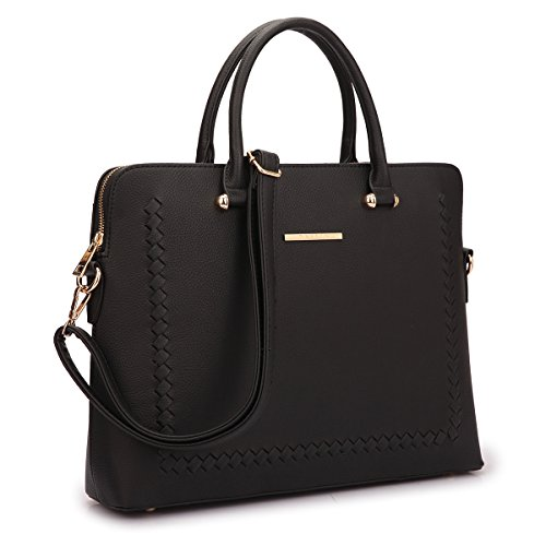 Women Slim Leather Briefcase Laptop Handbag Work Satchel w/Removable Shoulder Strap Black