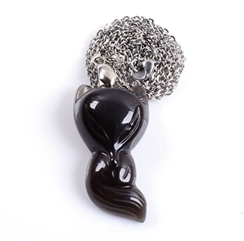 Amandastone Natural Ice Kinds of Obsidian Fox Exquisite Carved Charm Neckalce 20''