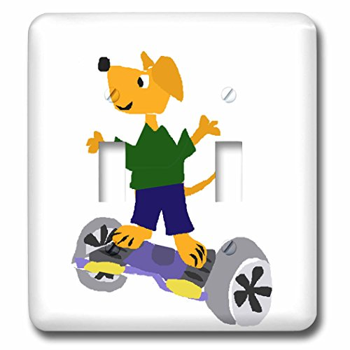 Price comparison product image All Smiles Art Sports and Hobbies - Funny Yellow Labrador Retriever Using Motorized Skateboard - Light Switch Covers - double toggle switch (lsp_233047_2)