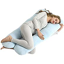 """LOOTUS U Shaped Pregnancy Pillow 55"""" Maternity Pillow with Removable Zipper Velvet Cover, Full Body Pillow for Sleeping,Support for Back, Hips, Legs, Belly for Pregnant Women, Blue"""