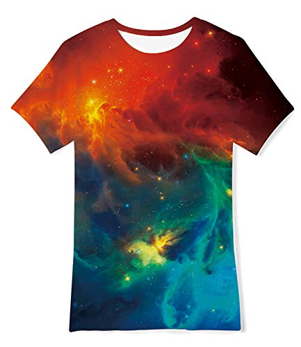 Enlifety Cool T Shirts for Boys Girls 3D Fire Cloud Printed Short Sleeve Graphic Tee Shirts for Playwear 6 7 8 Years