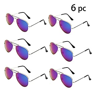 WODISON Classic Kids Aviator Sunglasses Bulk Reflective Metal Frame Children Eyeglass 6 Pack