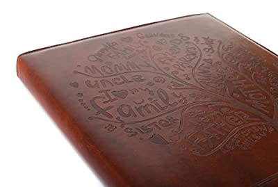 Red Co. Brown Faux Leather Family Photo Album with Embossed Tree – Holds 500 4x6 Photographs
