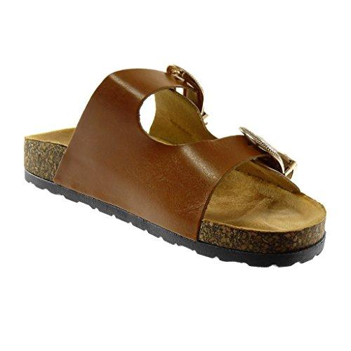Sughero Cm Scarpe Tacco 2 Angkorly Mules 5 Cammello Sandali Metallico on Donna Fibbia Moda Slip Piatto 67vvqzx