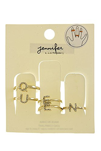 KARMAS CANVAS CRYSTAL LINED QUEEN RING SET (Clear/Gold)