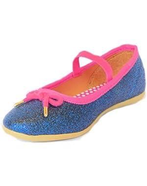 Girls Sparkly Glitter Ballet Flats Navy Pink Size 8 Toddler