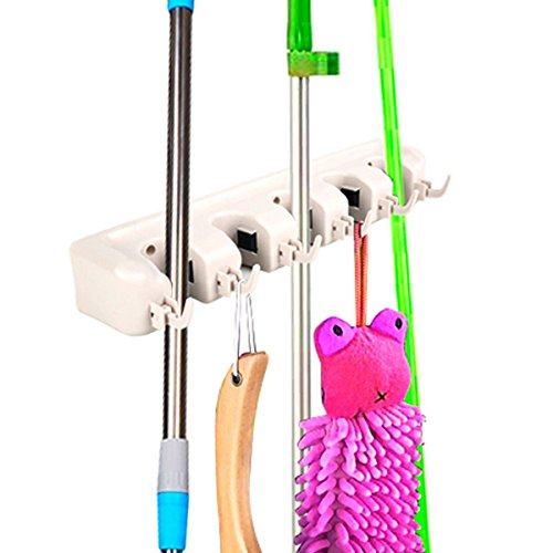 MasterPanel - Mop Holder Hanger 5 Position Home Kitchen Storage Broom Organizer Wall Mounted #TP3301