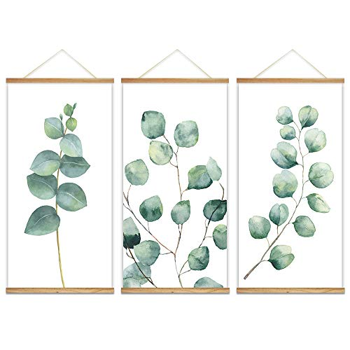 wall26 - 3 Panel Hanging Poster with Wood Frames - Watercolor Style Leaves - Ready to Hang Decorative Wall Art - 18