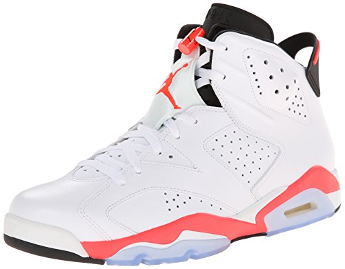 Nike Mens Air Jordan 6 Retro White/Infrared-Black Leather Basketball Shoes Size 12 (Jordan Retro 6 For Men)