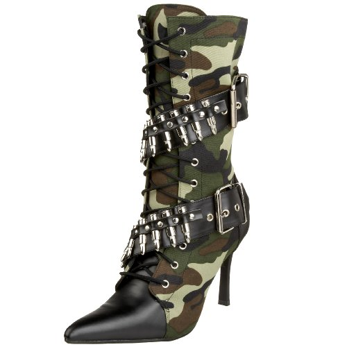 Funtasma by Pleaser Women's Halloween Militant-128,Green Camoflage/Black,9 M (Halloween Clearance Costumes)