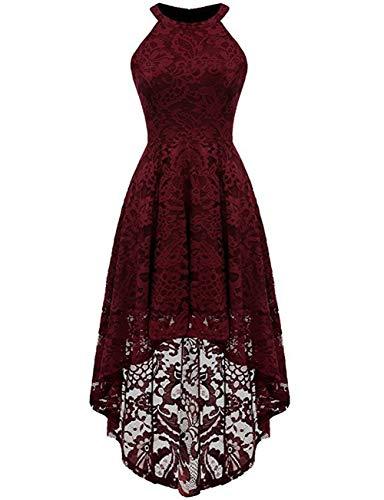 Vestito senza rosso maniche vintage longuette taigood formale alto donna cocktail collo orlo vino party irregolare pizzo swing floreale rrqFC