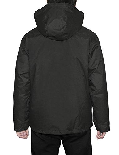 HARD LAND Mens Waterproof Down Parka Jacket Heavy Winter Coat Snowboard Jacket With Removable Hood Black Size XXXL by HARD LAND (Image #2)