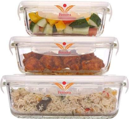Femora Borosilicate Rectangular Glass Food Storage Container With Air Vent Lid-Set Of 3 Pcs – (400ml, 620 ml, 1000 ml) Price & Reviews