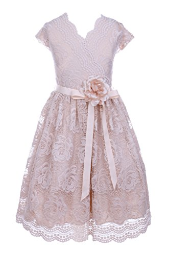 iGirlDress Big Girls Floral Design Lace Easter/Spring Dress Champagne Size 8
