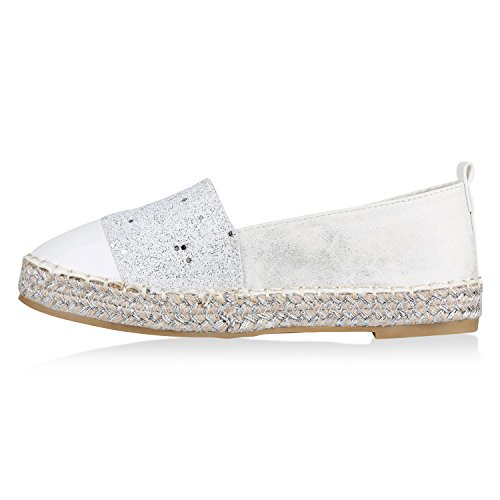 Stiefelparadies Damen Schuhe Espadrilles Bast Plateau Slippers Plateauschuhe Slip Ons Flandell Weiss Brooklyn