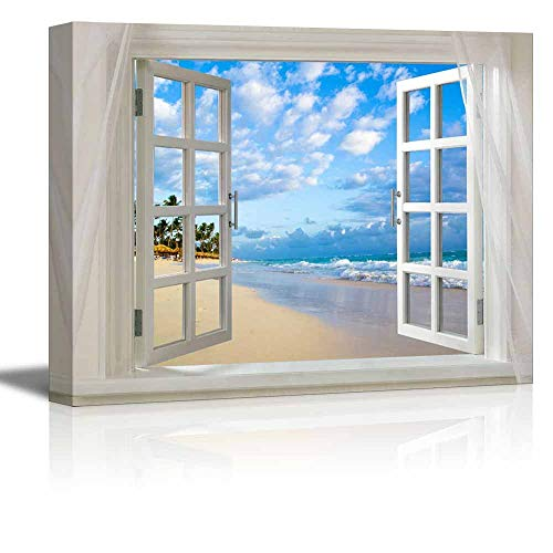 Miss Sweetheart Canvas Printing Wall Art - Glimpse into Clear Sea and Tropical Beach Out of Open Window   Modern Wall Art/Home Decoration Stretched Gallery Canvas Wrap Giclee Print - 20