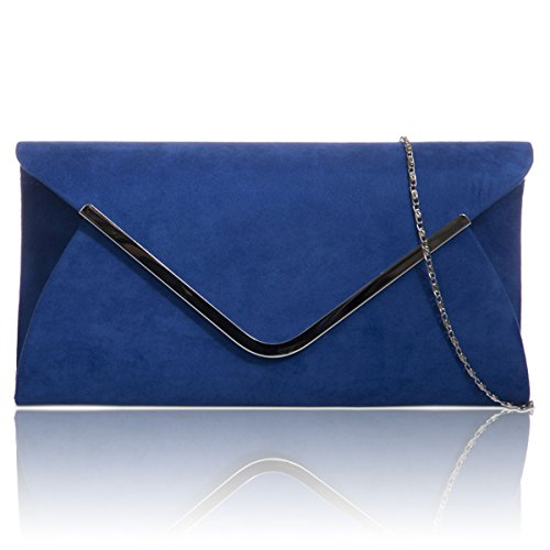 Baguette Faux Xardi Women Evening Royal Bags Ladies New Leather Envelope London Clutch Prom Blue Suede qwqax814