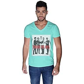 Creo Green Cotton V Neck T-Shirt For Men