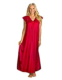 Shadowline Women's Plus-Size Silhouette 53 Inch Short Cap Sleeve Long Gown