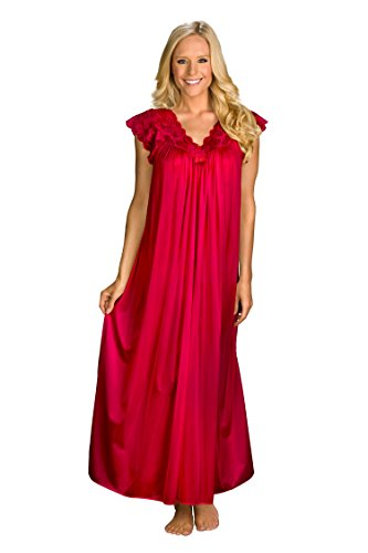 Shadowline Women's Silhouette 53 Inch Short Cap Sleeve Long Gown, Red, Large