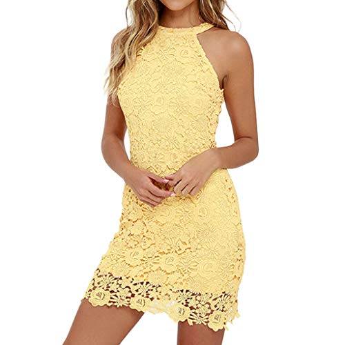 Londony ❤↪❤ Night Out Dresses for Women's Off The Shoulder Sleeveless Tie Neck Lace Halter Dress Yellow