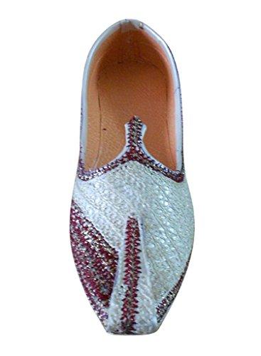 Kalra Creations - Zapatillas de estar por casa para hombre Cream-Maroon
