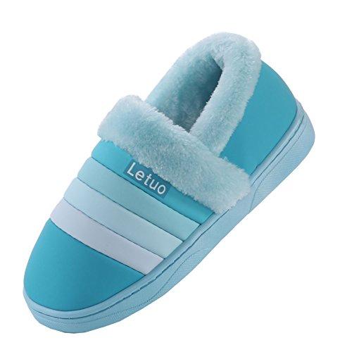 cuero de la PU de la raya impermeable zapatillas de casa-Unisexo invierno calentar felpa Botín con los zapatos cielo azul