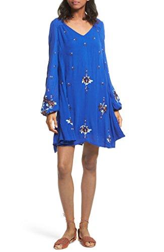 製造たるみ命令的フリーピープル トップス ワンピース Free People Embroidered Minidress Blue Combo [並行輸入品]